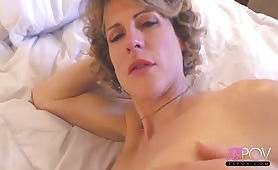 Busty shemale Delia DeLions fucked in hotel room POV