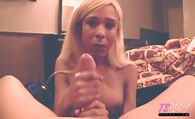 Blonde Mara Nova gives handjob in hotel room