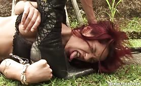 Scared young girl gets raped by Mistress Jo Garcia.