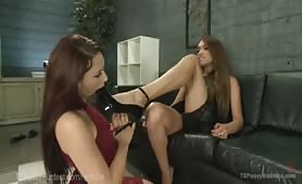 TS Dominates Girls Feet, Pussy And Ass!