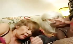 A Granny & Mature TS In a Foursome With Hung Dude & Cross Dresser.