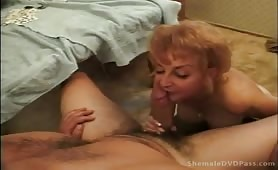 Granny The Tranny Blows, Eats Ass and Butt Bangs!